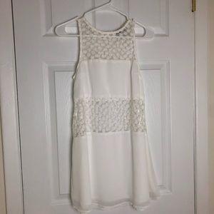 Sabo Skirt Ivory Mesh Floral Cut Out Mini Dress